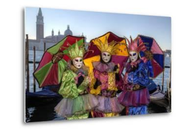 Colorful Trio Venice at Carnival Time, Italy-Darrell Gulin-Metal Print