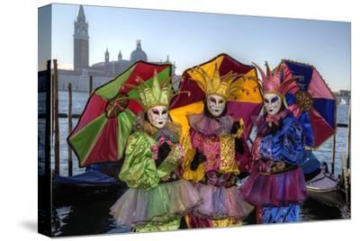 Colorful Trio Venice at Carnival Time, Italy-Darrell Gulin-Stretched Canvas Print