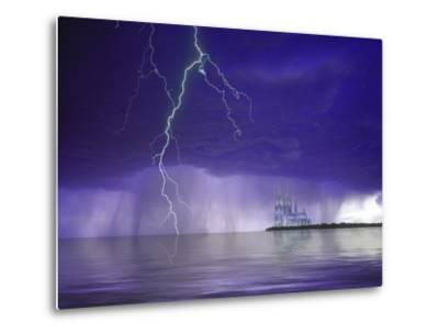 Composite of Fantasy Cathedral, Lightning and Water-Jaynes Gallery-Metal Print