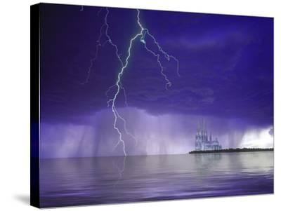 Composite of Fantasy Cathedral, Lightning and Water-Jaynes Gallery-Stretched Canvas Print