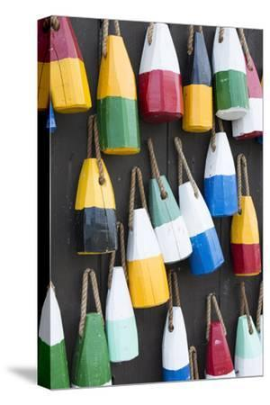 Bar Harbor, Maine, Colorful Buoys on Wall for Sale and State Specialty Souvenirs for Lobster Traps-Bill Bachmann-Stretched Canvas Print
