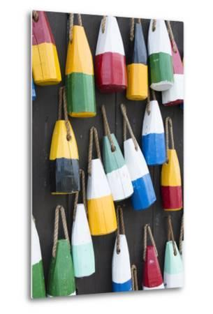 Bar Harbor, Maine, Colorful Buoys on Wall for Sale and State Specialty Souvenirs for Lobster Traps-Bill Bachmann-Metal Print