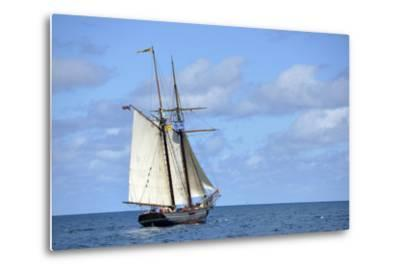 British Virgin Islands, Jost Van Dyke. Freedom Schooner Amistad under Sail-Kevin Oke-Metal Print