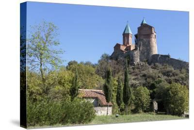 Georgia, Telavi. Gremi Monastery from a Nearby Field-Alida Latham-Stretched Canvas Print
