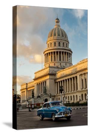 Cuba, Havana, Capitol and Classic Car in Historic Old Havana District-John and Lisa Merrill-Stretched Canvas Print