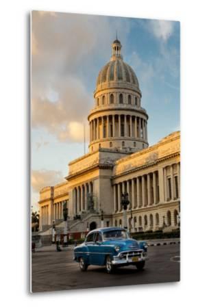 Cuba, Havana, Capitol and Classic Car in Historic Old Havana District-John and Lisa Merrill-Metal Print