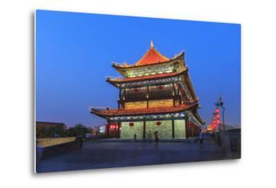 Night Lighting and Glowing Lanterns, Views from Atop City Wall, Xi'An, China-Stuart Westmorland-Metal Print