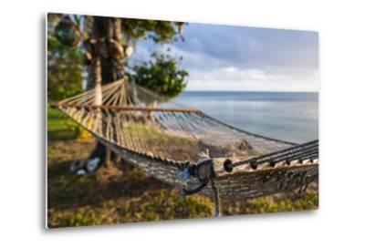 Hammock on a Beach in Ha'Apai Islands, Tonga, South Pacific-Michael Runkel-Metal Print
