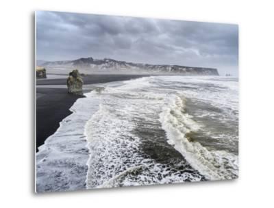 North Atlantic Coast Near Vik Y Myrdal During a Winter Storm with Heavy Gales-Martin Zwick-Metal Print