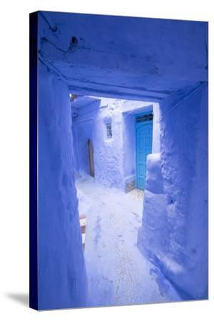 Morocco, Chaouen. Narrow Street Lined with Blue Buildings-Emily Wilson-Stretched Canvas Print