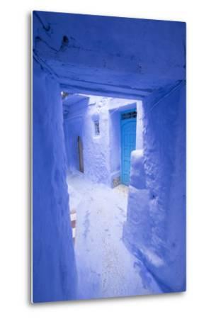 Morocco, Chaouen. Narrow Street Lined with Blue Buildings-Emily Wilson-Metal Print