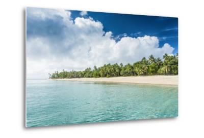 Palm Fringed White Sand Beach in Ha'Apai, Ha'Apai Islands, Tonga, South Pacific-Michael Runkel-Metal Print