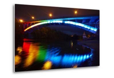 Historic Victoria Bridge at Night, Waikato River, Hamilton, Waikato, North Island, New Zealand-David Wall-Metal Print