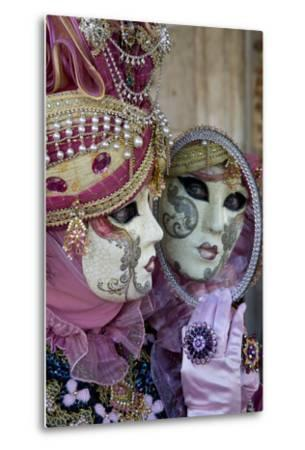 Reflection in Mirror Venice at Carnival Time, Italy-Darrell Gulin-Metal Print