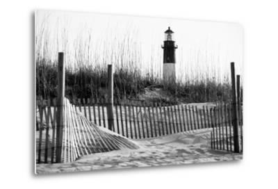 USA, Georgia, Tybee Island, Fences and Lighthouse-Ann Collins-Metal Print