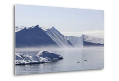Greenland, Ilulissat Icefjord, Tabular Icebergs and Sea Water-Aliscia Young-Metal Print