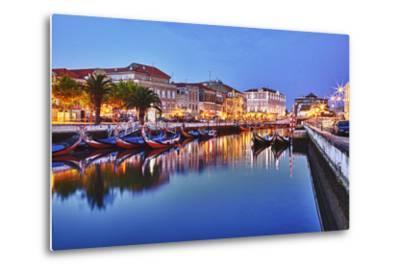 Portugal, Aveiro, Moliceiro Boats Along the Main Canal of Aveiro-Terry Eggers-Metal Print
