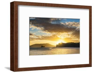 Sunset over the Beach, Nacula Island, Yasawa, Fiji, South Pacific-Michael Runkel-Framed Premium Photographic Print