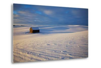 USA, Idaho, Small Barn in Snow Covered Field-Terry Eggers-Metal Print