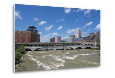 Rochester, New York, Beautiful Genesee River and Downtown Skyline on Main Street Brown Water River-Bill Bachmann-Metal Print