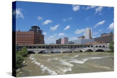 Rochester, New York, Beautiful Genesee River and Downtown Skyline on Main Street Brown Water River-Bill Bachmann-Stretched Canvas Print