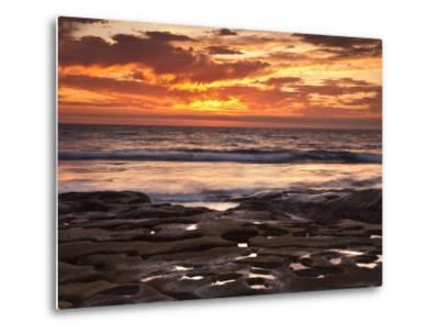 USA, California, La Jolla. Sunset over Tide Pools at Coast Blvd. Park-Ann Collins-Metal Print