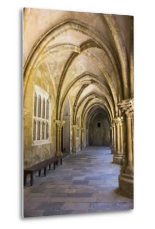 Portugal, Coimbra. Old Cathedral Cloister. Archways, Walking Paths, Courtyard-Emily Wilson-Metal Print