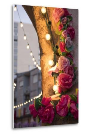 Portugal, Tomar, Santarem District. Colorfully Decorated Streets During the Trays Festival-Emily Wilson-Metal Print