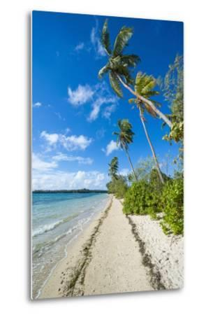 Palm Fringed White Sand Beach on an Islet of Vava'U, Tonga, South Pacific-Michael Runkel-Metal Print