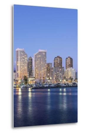 Hawaii, Honolulu, Twilight Waikiki Skyline-Rob Tilley-Metal Print