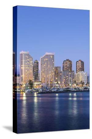 Hawaii, Honolulu, Twilight Waikiki Skyline-Rob Tilley-Stretched Canvas Print
