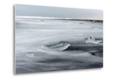Icebergs on Black Volcanic Beach. Beach Near the Glacial Lagoon Jokulsarlon-Martin Zwick-Metal Print