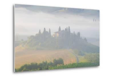 Italy, Tuscany. Belvedere House in Morning Fog-Jaynes Gallery-Metal Print
