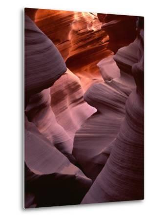 USA, Arizona, Navajo Tribal Park, Erosion of Navajo Sandstone of Lower Antelope Canyon-John Barger-Metal Print