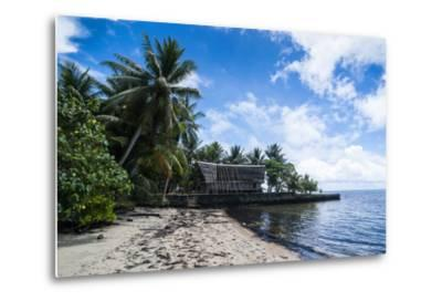 Traditional Thatched Roof Hut, Yap Island, Micronesia-Michael Runkel-Metal Print