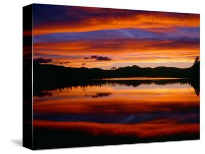 USA, Colorado, Sunset Ignites the Sky over Echo Lake, Arapaho National Forest-John Barger-Stretched Canvas Print