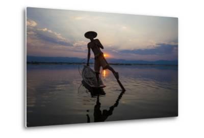 Myanmar, Inle Lake. Fisherman Rowing at Sunset-Jaynes Gallery-Metal Print