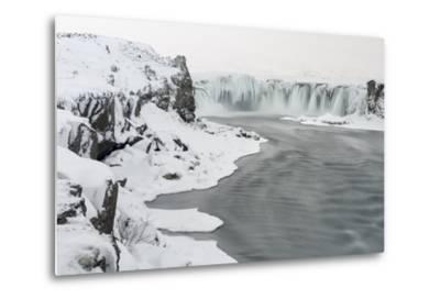 Godafoss Waterfall of Iceland During Winter-Martin Zwick-Metal Print