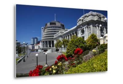 The Beehive and Parliament House, Wellington, North Island, New Zealand-David Wall-Metal Print