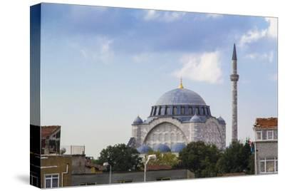 Turkey, Istanbul. the Mihrimah Sultan Mosque Near the Byzantine Land Walls of Istanbul, Turkey-Emily Wilson-Stretched Canvas Print