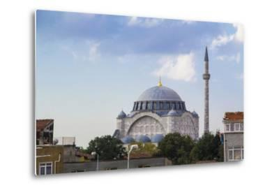 Turkey, Istanbul. the Mihrimah Sultan Mosque Near the Byzantine Land Walls of Istanbul, Turkey-Emily Wilson-Metal Print