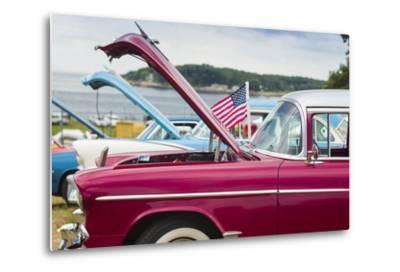 USA, Massachusetts, Cape Ann, Gloucester, Antique Car Show, Car Detail-Walter Bibikow-Metal Print