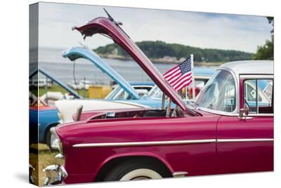 USA, Massachusetts, Cape Ann, Gloucester, Antique Car Show, Car Detail-Walter Bibikow-Stretched Canvas Print