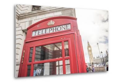 Red Telephone Box and Big Ben (Elizabeth Tower), Houses of Parliament, Westminster, London, England-Matthew Williams-Ellis-Metal Print