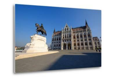 The Hungarian Parliament Building and Statue of Gyula Andressy, Budapest, Hungary, Europe-Carlo Morucchio-Metal Print