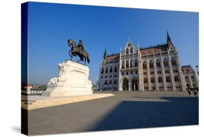 The Hungarian Parliament Building and Statue of Gyula Andressy, Budapest, Hungary, Europe-Carlo Morucchio-Stretched Canvas Print