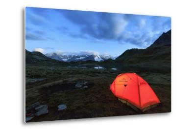 Lights of a Tent around Fenetre Lakes at Dusk, Aosta Valley-Roberto Moiola-Metal Print