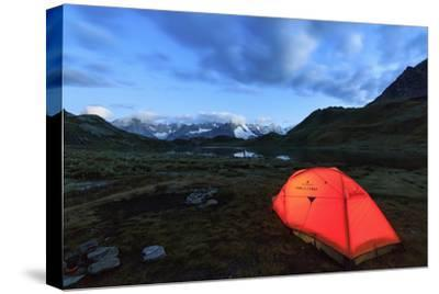 Lights of a Tent around Fenetre Lakes at Dusk, Aosta Valley-Roberto Moiola-Stretched Canvas Print
