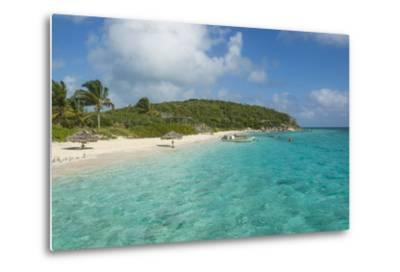 Turquoise Waters and a White Sand Beach, Exumas, Bahamas, West Indies, Caribbean, Central America-Michael Runkel-Metal Print
