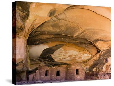 USA, Utah, Blanding. Fallen Roof Ruin in Road Canyon on Cedar Mesa-Charles Crust-Stretched Canvas Print